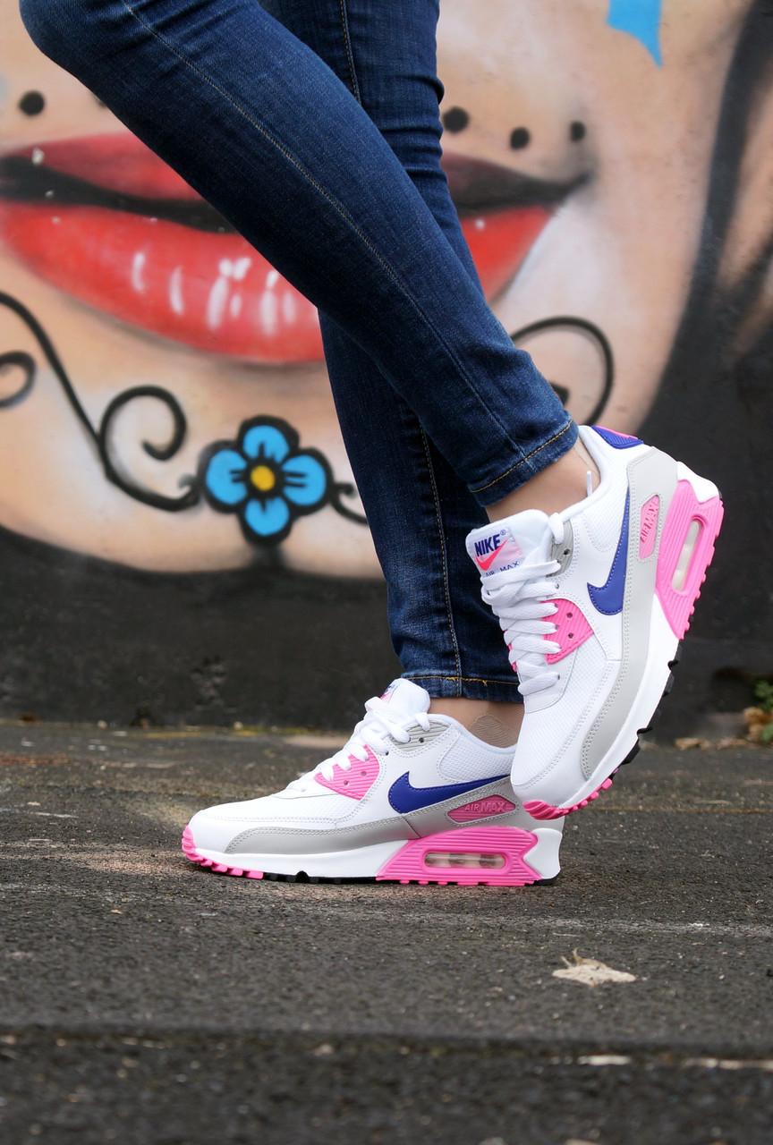 "Кроссовки Nike Air Max 90 WMNS ""White/Rose/Purple""."