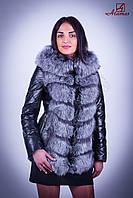 Кожаная куртка из мехом чернобурки J1666