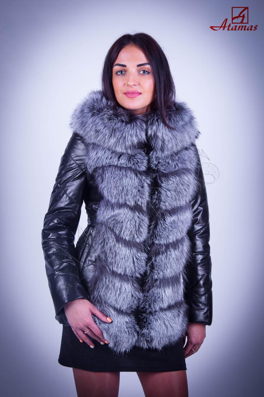 Куртки с натуральным мехом чернобурка