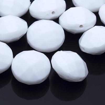 Акрилові намистини Круглі Плоскі, Гранчасті, Колір: Білий, Розмір: 18х12мм, Отвір 2мм, (УТ0005561)