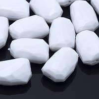 Бусины Акриловые Овальные,Граненые, Цвет: Белый, Размер: 21.5х14.5х10мм, Отверстие 2мм, около 21 шт/ 50 г, (УТ0005548)