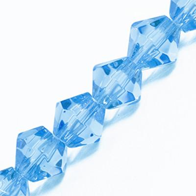 Грановані намистини Биконус 8мм, Прозоре Скло, Колір: Синій, Ширина: 8мм, Отв-нення 1мм, близько 42шт/нитка, (УТ0029321)