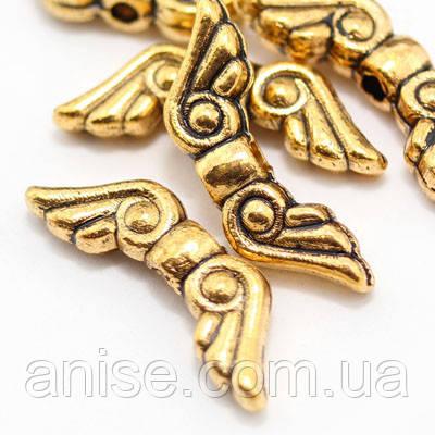 Бусины Крылья, Металл, Цвет: Античное Золото, Размер: 16х5х3мм, Отв-тие 1.5мм, (УТ000007612)