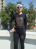 Спортивный костюм женский трикотаж без молнии черный высокий рейтинг мода