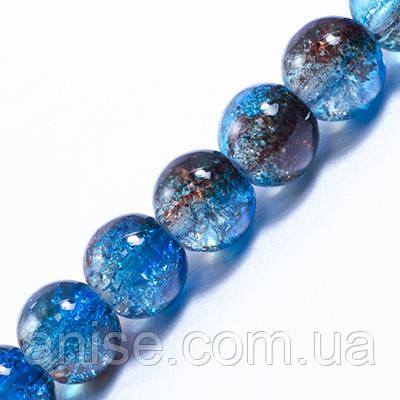Намистини Скло Кракле 6мм, Двоколірні, круглі, Колір: Сіро-блакитний A78, Діаметр: 6 мм, Отв-нення 1мм