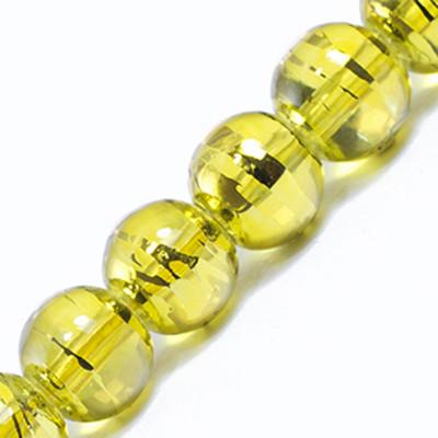 Намистини Скляні Волочильні, Круглі, Колір: Золотистий Y23, Розмір: 8мм, Отвір 1.5 мм, близько 100шт/нитка, (УТ0031226)