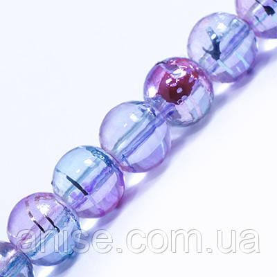 Намистини Скляні Волочильні, Круглі, Колір: Рожево-блакитний Y17, Розмір: 6 мм, Отвір 1.5 мм, близько 135шт/нитка, (УТ0031207)