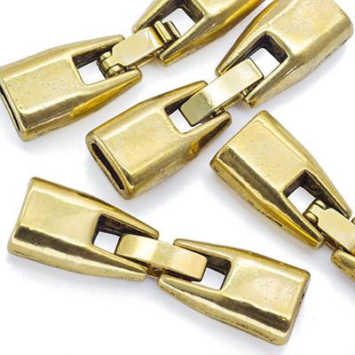 Застежка Клипса, Металл Тибетский Стиль, Цвет: Античное Золото, Размер: 32х9х6мм, Отв-тие 6х3мм, Диаметр Внутри 2.9мм, (УТ0015384)