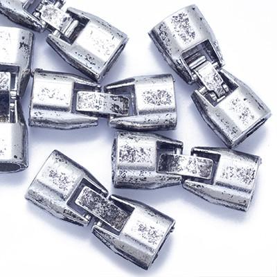 Застібка Кліпса, Метал Тибетська Стиль, Колір: Античне Срібло, Розмір: 27х11х7.5мм, Отв-нення 5х3мм, Всередині 5х7мм, (УТ0013450)
