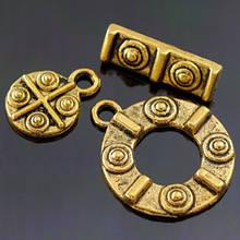 Застежка Тогл Металл из 3-х частей, Цвет: Античное Золото, Размер: Тогл большой 19х16мм, Тогл Маленький 12х9мм, Палочка: 15х4.5мм, Отв-тие 2мм,