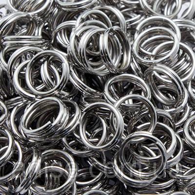 Колечки Двойные, Железные, Цвет: Платина, Размер: 5мм, Толщина 0.7мм, 50г/около 600шт, (УТ0003260)