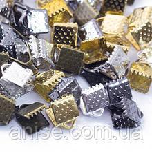 Концевики Зажимы для Лент, Железные, Цвет: Микс, Размер: 6х6х5мм, Отверстие 2мм, (УТ0029409)