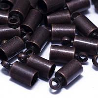 Концевики из Латуни, для Шнура, Цвет: Медь, Размер: 9.5х4мм, Внутренний Диаметр 3.5мм, Отв-тие 1.2мм, (УТ0018552)