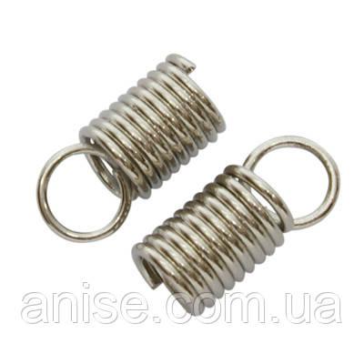 Концевики-Пружинки для Шнура, Железные, Цвет: Платина, Размер: 10х4.5мм, Диаметр внутри 3.2мм, Отверстие 3.5мм, (УТ000004277)