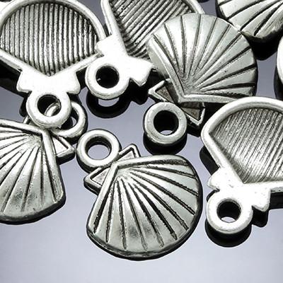 Кулон Ракушка, Металл, Цвет: Античное Серебро, Размер: 14х12х2.5мм, Отверстие 2мм, (БА000001860)