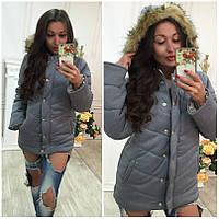 Куртка женская трикотажная на синтепоне с мехом P3325