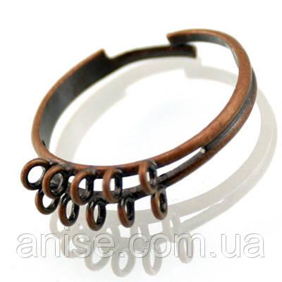 Основа для кольца Латунь, с 10 Петельками, Цвет: Медь, Размер: Диаметр 19мм, Внутри 17мм, (БА000001040)