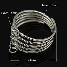 Основа для кольца Металлическая, с 5 Петельками, Цвет: Платина, Размер: Диаметр 19мм, Ширина 24мм, Толщина 2.5мм, Отверстие 2.5мм, (УТ0002145)
