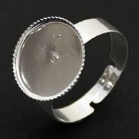 Основа для кольца Металлическая, с Платформой под Кабошон, Цвет: Платина, Размер: Диаметр 15мм, Ширина 5мм, Толщина 1мм, (УТ000003537)