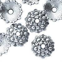 Шапочки для Бусин Металлические, Круглые, Цвет: Античное Серебро, Размер: 11х3.5мм, Отверстие 2мм, (УТ000004304)