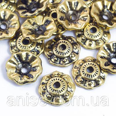Шапочки для Бусин Металлические, Цветок, Цвет: Античное Золото, Размер: 10х3мм, Отверстие 2мм, (УТ0029202)