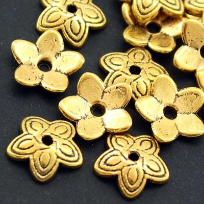 Шапочки для Бусин Металлические, Цветок, Цвет: Античное Золото, Размер: 11х2.5мм, Отверстие 1мм, (УТ000007598)