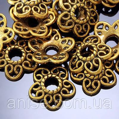 Шапочки для Бусин Металлические, Цветок, Цвет: Античное Золото, Размер: 12х3мм, Отверстие 3мм, (УТ0001980)