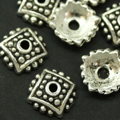Шапочки для Бусин Металлические, Цветок, Цвет: Античное Серебро, Размер: 7.5х2.5мм, Отверстие 1.5мм, (УТ000007549)