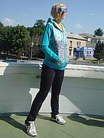 Спортивный костюм женский на молнии с капюшоном Billcee бирюза