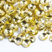 Шапочки из Латуни, для Бусин, Круглые, Цвет: Золото, Размер: 3х0.8мм, Отверстие 1мм, около 170шт/3г, (УТ0029216)