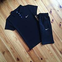 Комплект футболка поло и шорты Nike, поло черная, шорты черные, размеры С,М,Л,ХЛ