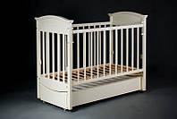 Кроватка детская Наполеон VIP (ящик + продольный маятник) ваниль, Ласка-М