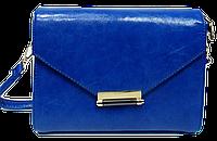 Сумка женская синяя на плечо прямоугольная