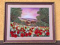 Картина вышитая лентами маковое поле 34x41