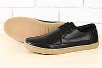 Стильные мужские кожаные мокасины в чёрной коже