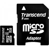 Карта памяти TRANSCEND microSDHC 8 GB Class 4 с SD адаптером