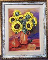 "Картина вышитая лентами ""ваза с подсолнухами 45x37"""
