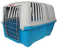Переноска для кошек и собак Pratiko 1 Metal, голубая, 48х31.5х33 см