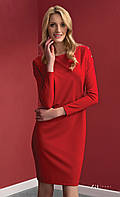 Женское стильное платье красного цвета с длинным рукавом. Модель Dianna Zaps. Повседневное платье, По колено, Длинный, 2XL, Нет, ZAPS, 52, Воздухопроницаемость, Весна/осень, Классический, Польша, Платье - футляр, Реглан, Красный, Нет