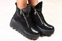 Ботинки кожаные зимние черные на толстой подошве с замками, на меху, фото 1