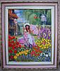 Картина вышитая лентами девочка в саду 42х35