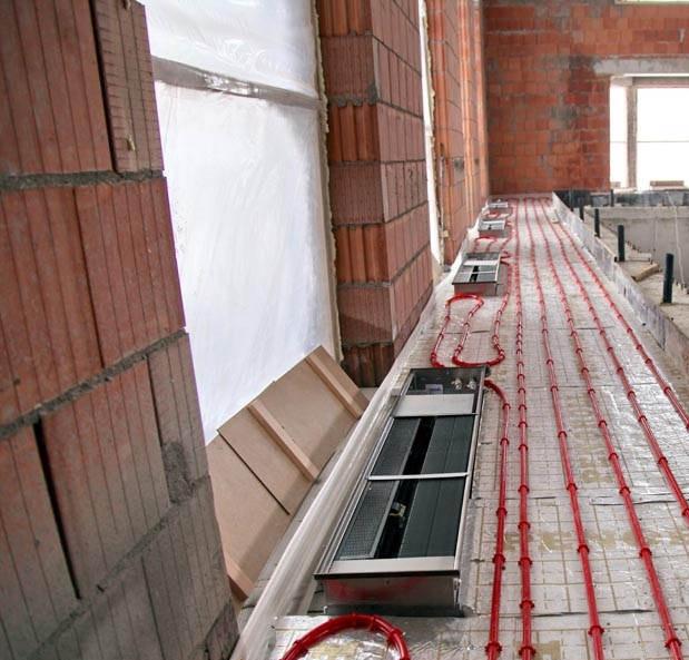 Монтаж внутрипольного конвектора с теплым полом