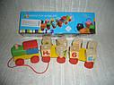 Деревянные игрушки паровозик конструктор английский алфавит, фото 2