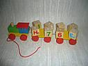 Деревянные игрушки паровозик конструктор английский алфавит, фото 3