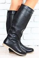 Сапоги женские зимние черные кожаные без каблука на низком ходу