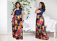 Стильное длинное платье джинс+цветы на темном фоне