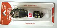 USB кабель Micro тканевый в блистере PC-708 черный