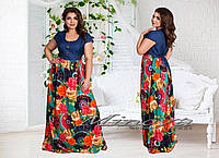 Стильное длинное платье джинс+цветы на бирюзовом фоне