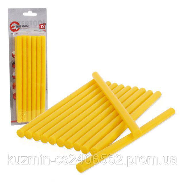 Комплект жёлтых клеевых стержней 11.2 мм*200 мм 12шт INTERTOOL RT-1021