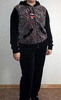 Женский велюровый костюм  с принтом